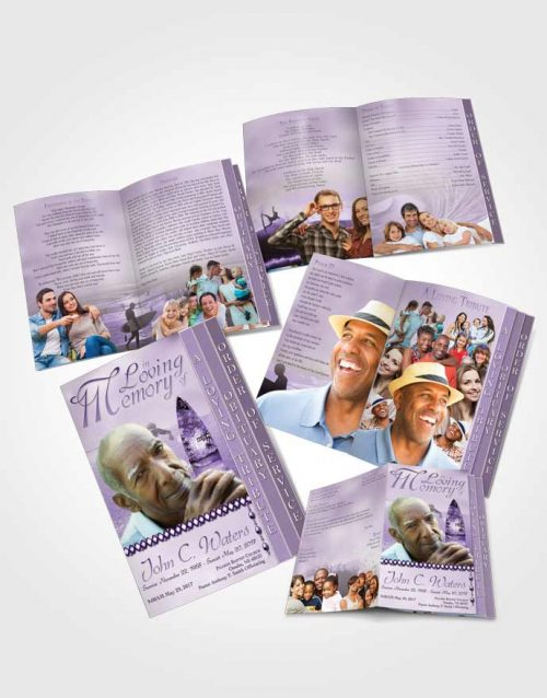 4 Page Grad Obituary Template Brochure Surfers Paradise Lavender Waves