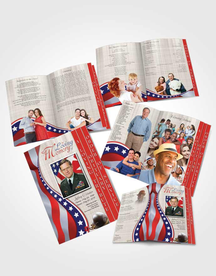 4 Page Grad Obituary Template Brochure Sweet Military Honors