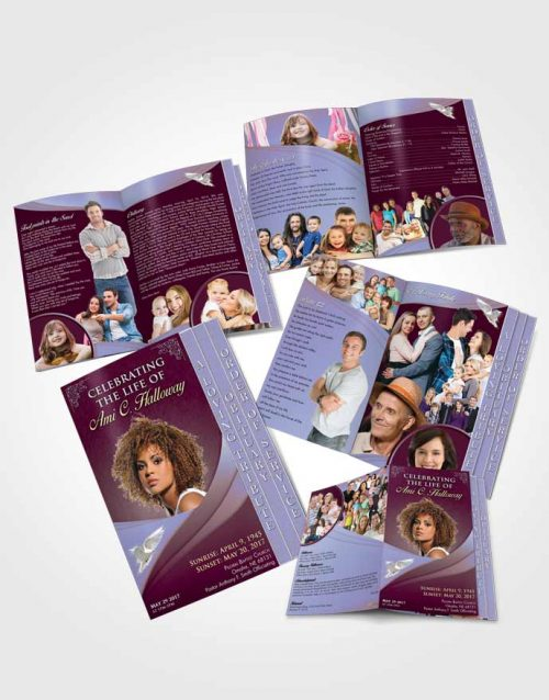 4 Page Grad Obituary Template Brochure Timeless Magnificence