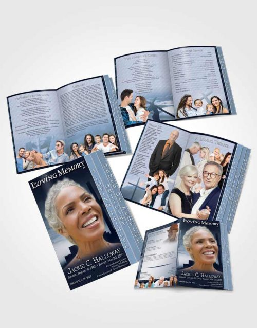4 Page Grad Obituary Template Brochure Topaz Cross in the Sky
