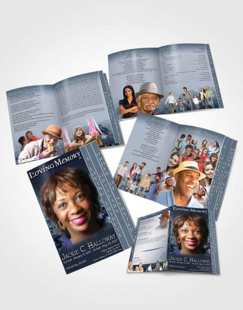 4 Page Graduated Step Fold Obituary Template Brochure Topaz Dream Flower