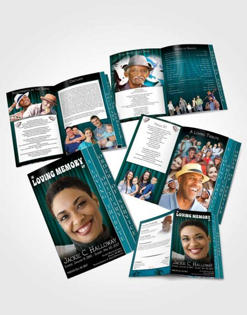 4 Page Grad Obituary Template Brochure Turquoise Actor
