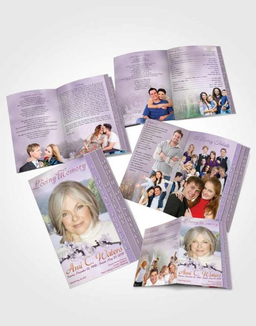 4 Page Grad Obituary Template Brochure Waterfall Heaven Lavender Honor