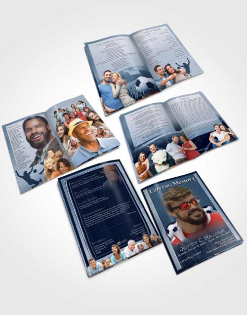 Booklet Memorial Folder Ocean Blue Soccer Star