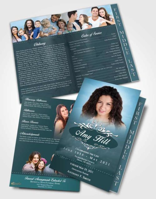 2 Page Graduated Step Fold Funeral Program Template Brochure Afternoon Sympathy