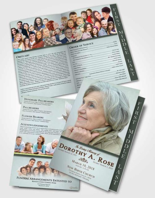 2 Page Graduated Step Fold Funeral Program Template Brochure Delicate Tolerance