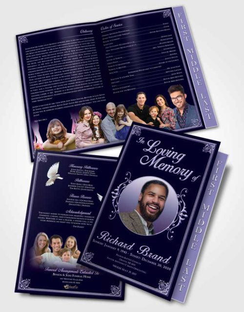 2 Page Graduated Step Fold Funeral Program Template Brochure Diamond Class Dark