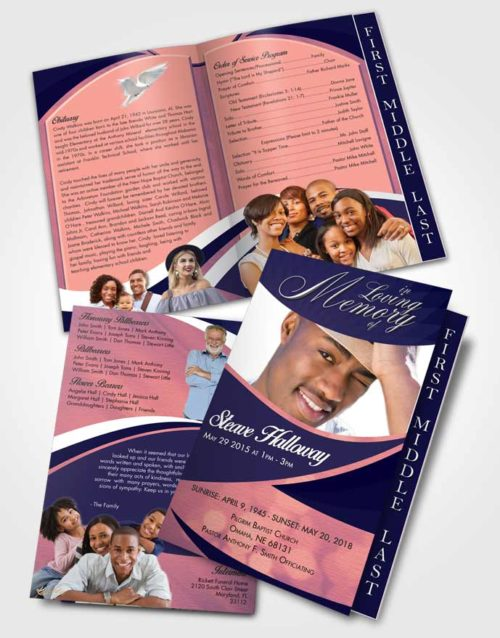 2 Page Graduated Step Fold Funeral Program Template Brochure Loyal Diligence