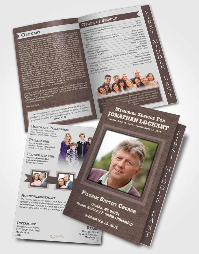 2 Page Graduated Step Fold Funeral Program Template Brochure Morning Intensity