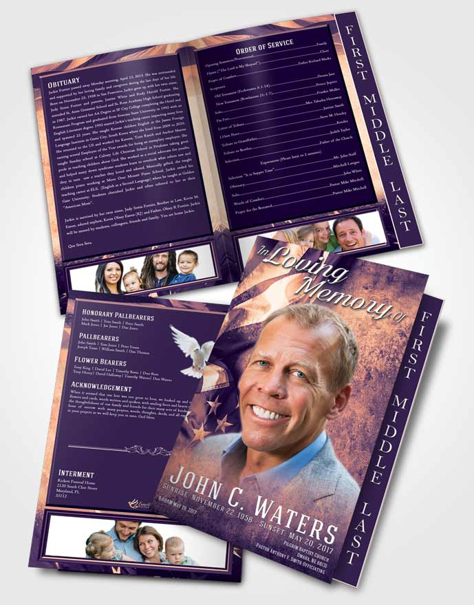 2 Page Graduated Step Fold Funeral Program Template Brochure Smooth Stars and Stripes