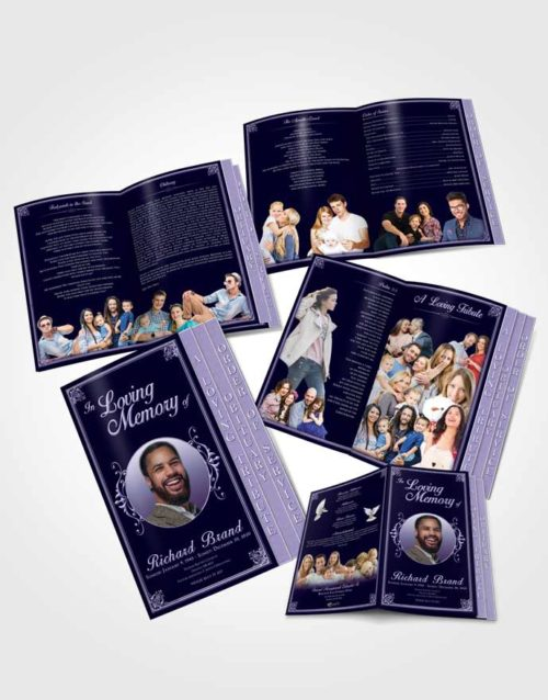 4 Page Grad Obituary Template Brochure Diamond Class Dark