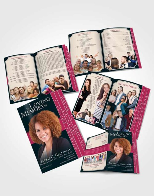 4 Page Grad Obituary Template Brochure Gentle Nobility