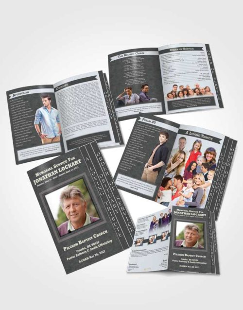4 Page Grad Obituary Template Brochure Majestic Intensity