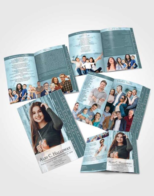4 Page Grad Obituary Template Brochure Peaceful Endurance