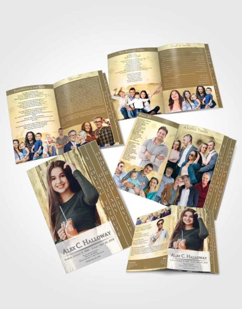 4 Page Grad Obituary Template Brochure Soft Endurance