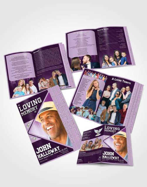 4 Page Grad Obituary Template Brochure Soothing Vigor