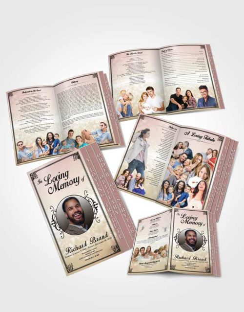 4 Page Grad Obituary Template Brochure Tranquil Class Light