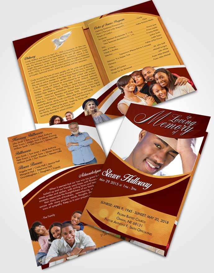 Bifold Order Of Service Obituary Template Brochure Beautiful Diligence