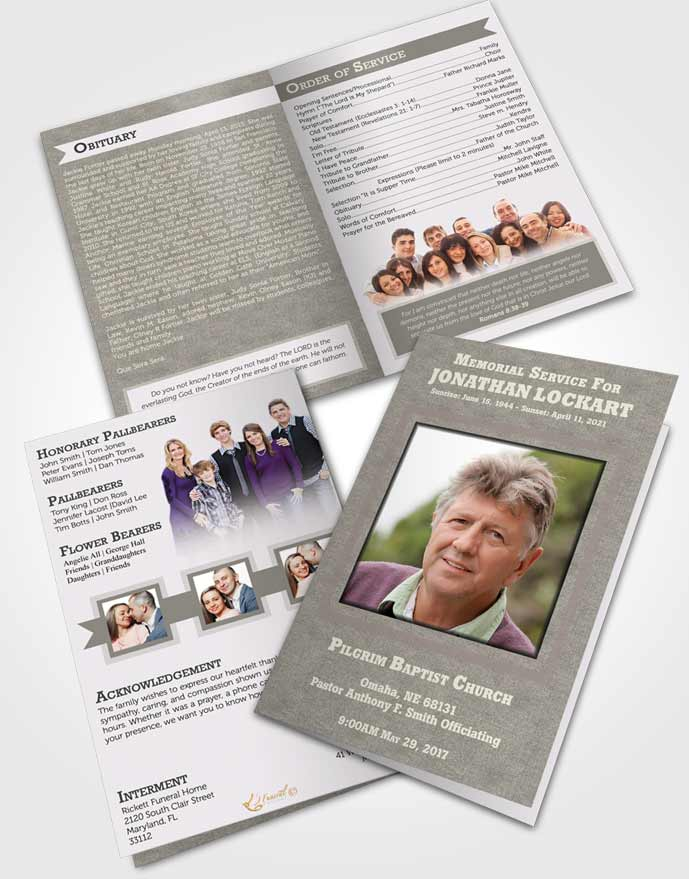 Bifold Order Of Service Obituary Template Brochure Collected Intensity