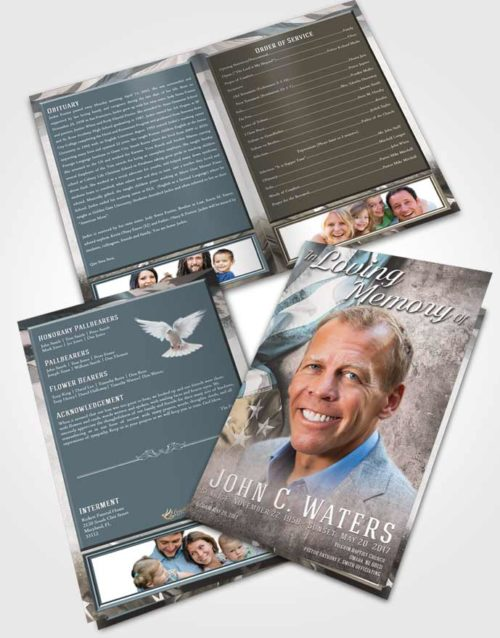 Bifold Order Of Service Obituary Template Brochure Collected Stars and Stripes
