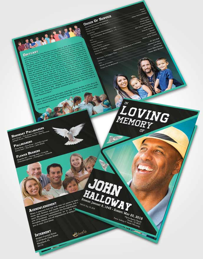 Bifold Order Of Service Obituary Template Brochure Cordial Vigor
