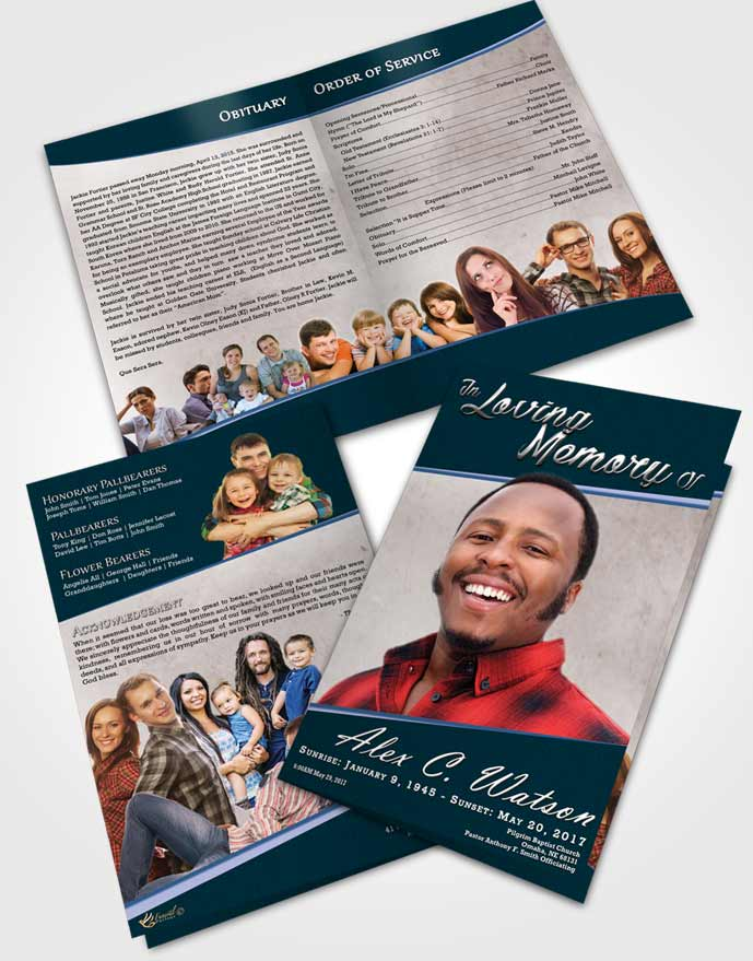 Bifold Order Of Service Obituary Template Brochure Devoted Vitality