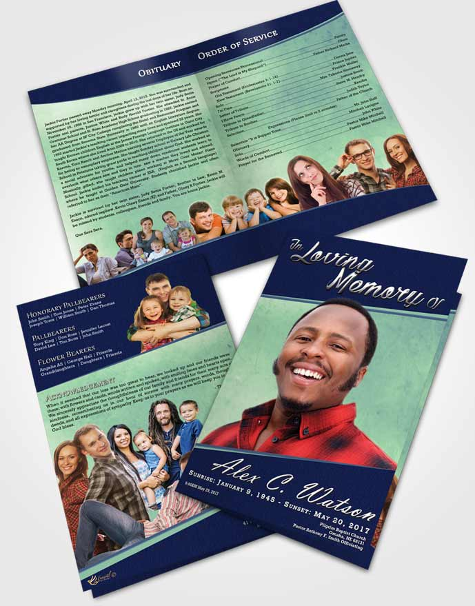 Bifold Order Of Service Obituary Template Brochure Divine Vitality