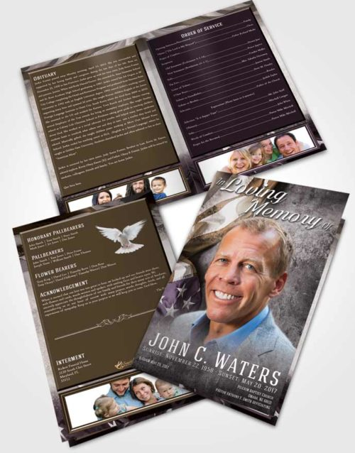 Bifold Order Of Service Obituary Template Brochure Evening Stars and Stripes