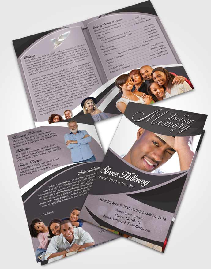 Bifold Order Of Service Obituary Template Brochure Lustful Diligence