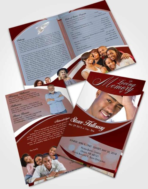 Bifold Order Of Service Obituary Template Brochure Lustrous Diligence