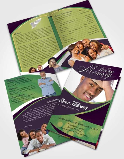 Bifold Order Of Service Obituary Template Brochure Mellow Diligence