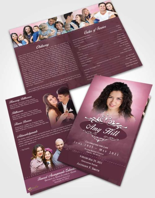 Bifold Order Of Service Obituary Template Brochure Ocean Sympathy