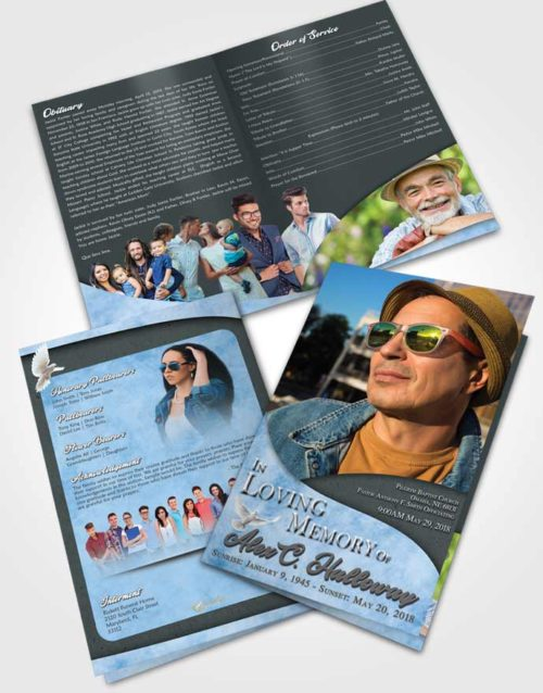 Bifold Order Of Service Obituary Template Brochure Passionate Peace of Mind