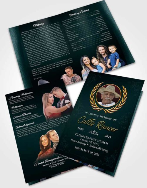 Bifold Order Of Service Obituary Template Brochure Restful Desire