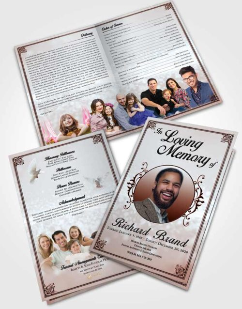 Bifold Order Of Service Obituary Template Brochure Ruby Love Class Light