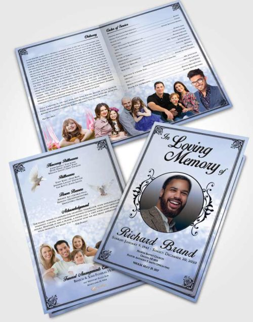 Bifold Order Of Service Obituary Template Brochure Splendid Class Light