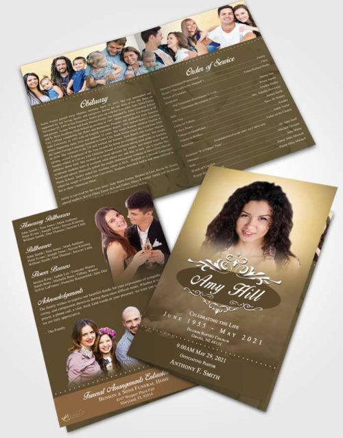 Bifold Order Of Service Obituary Template Brochure Tranquil Sympathy