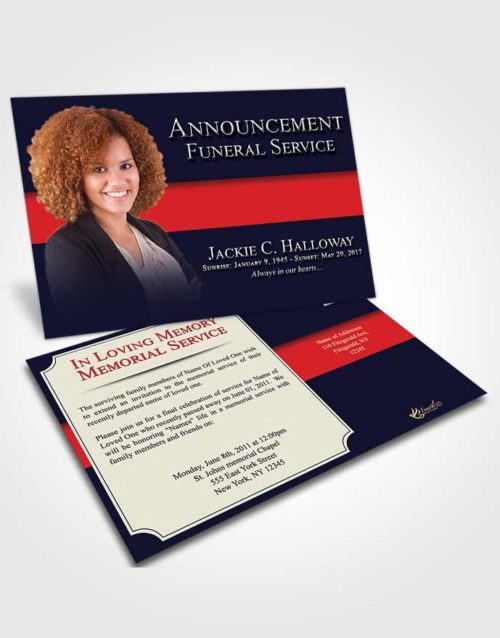 Funeral Announcement Card Template Afternoon Nobility