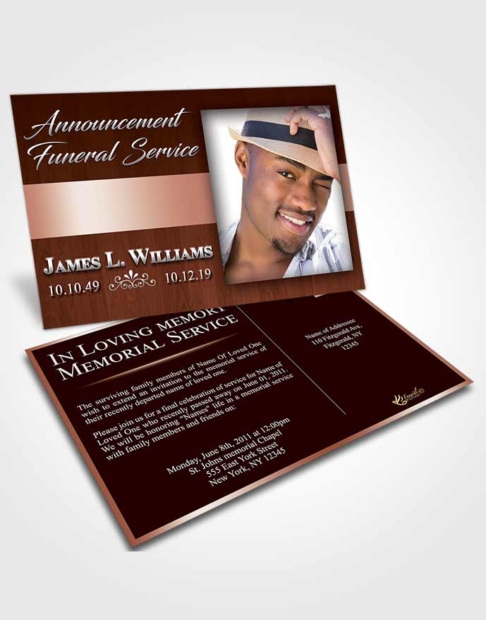 Funeral Announcement Card Template Calm Force