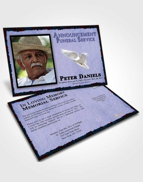 Funeral Announcement Card Template Devoted Outback