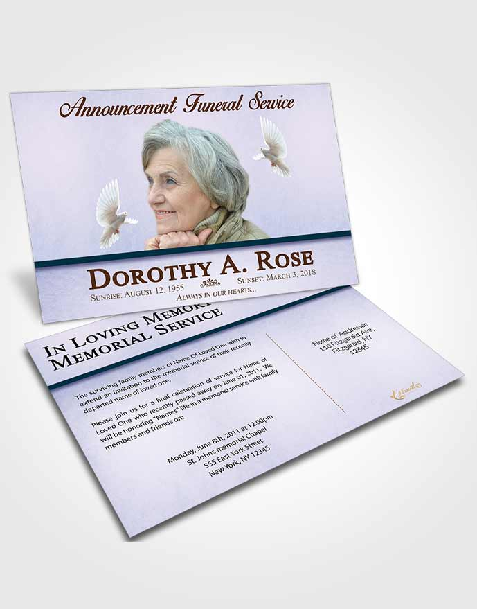 Funeral Announcement Card Template Devoted Tolerance
