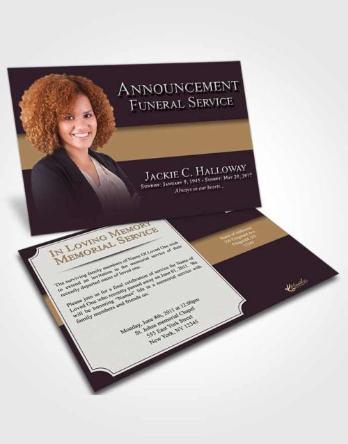 Funeral Announcement Card Template Evening Nobility