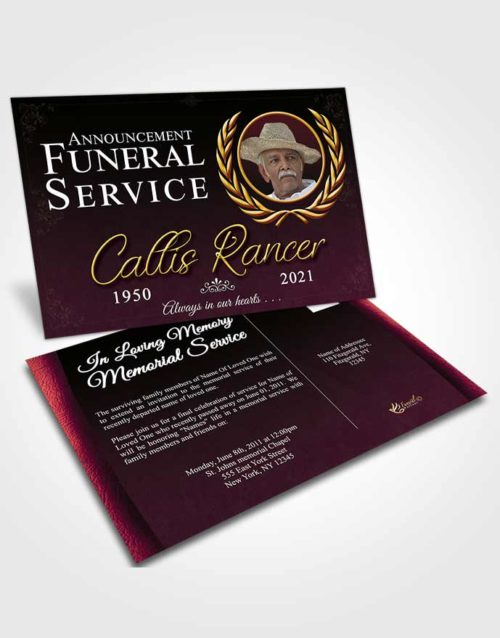 Funeral Announcement Card Template Gentle Desire
