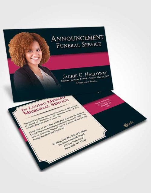 Funeral Announcement Card Template Gentle Nobility