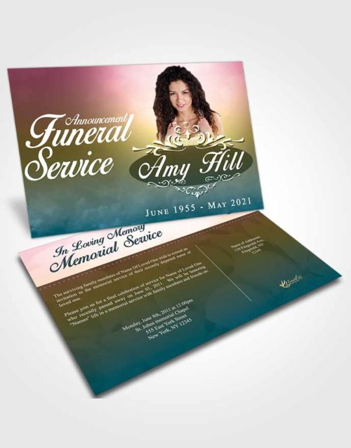 Funeral Announcement Card Template Harmonious Sympathy