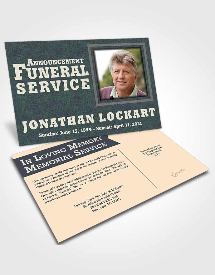 Funeral Announcement Card Template Mellow Intensity