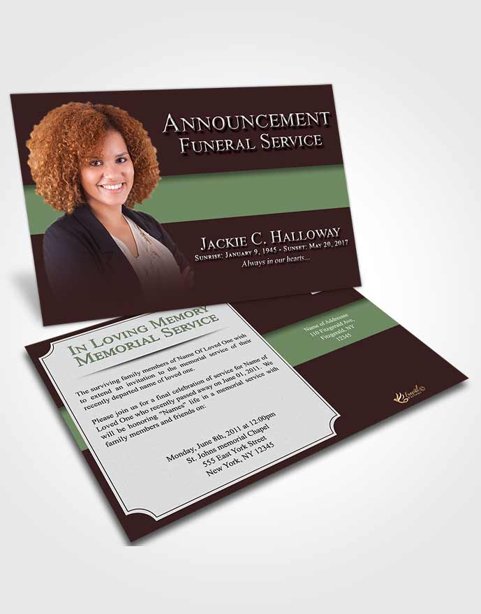 Funeral Announcement Card Template Morning Nobility
