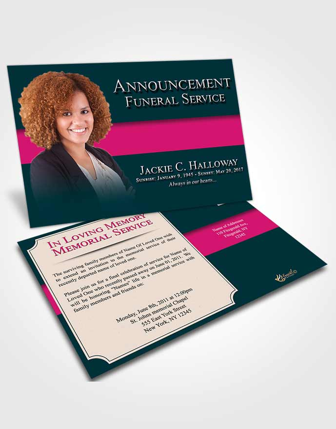 Funeral Announcement Card Template Sapphire Nobility