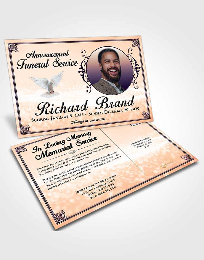 Funeral Announcement Card Template Smooth Class Light