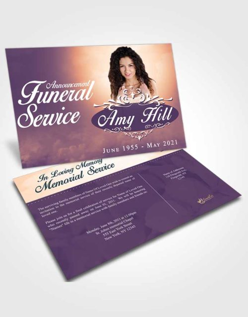 Funeral Announcement Card Template Smooth Sympathy